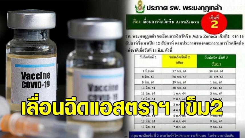 รพ.พระมงกุฎเกล้า เลื่อนฉีดวัคซีนแอสตราฯ เข็ม 2 จาก 16 สัปดาห์ ขึ้นมาเป็น 12 สัปดาห์