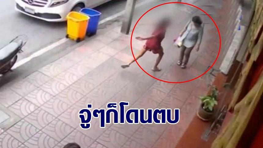 เตือนภัย! หญิงเร่ร่อนสติหลุด โดดตบป้าจนกระเด็น ขณะเดินซื้อของย่านสำเพ็ง