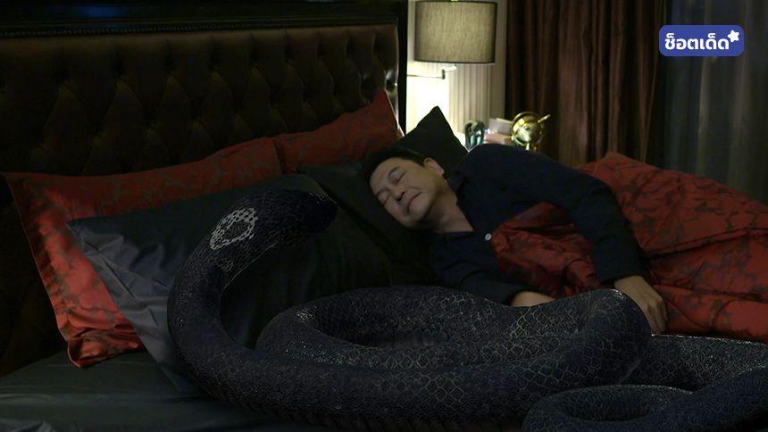 มีงูอยู่บนเตียง